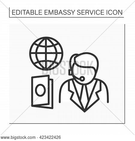 Passport Service Line Icon.consumer Support Day-and-night. Consultation About Visas And Visa-free Ac