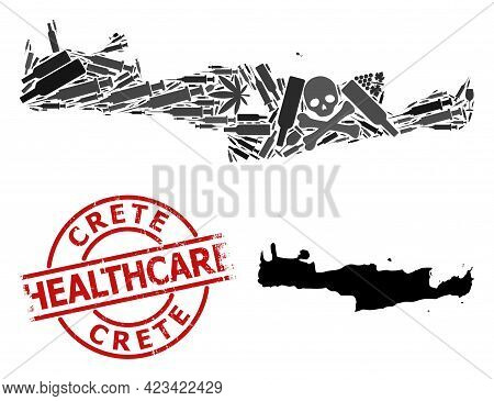 Vector Addiction Mosaic Map Of Crete Island. Grunge Health Care Round Red Badge. Concept For Narcoti