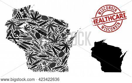 Vector Addiction Composition Map Of Wisconsin State. Grunge Healthcare Round Red Watermark. Concept