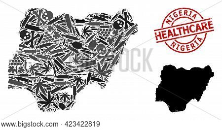 Vector Drugs Collage Map Of Nigeria. Grunge Health Care Round Red Stamp. Template For Narcotic Addic