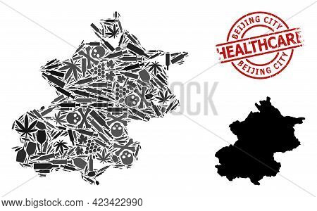 Vector Narcotic Composition Map Of Beijing Municipality. Rubber Healthcare Round Red Seal Stamp. Tem