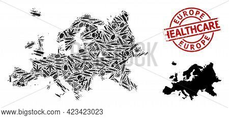 Vector Addiction Mosaic Map Of Europe. Grunge Health Care Round Red Stamp. Template For Narcotic Add