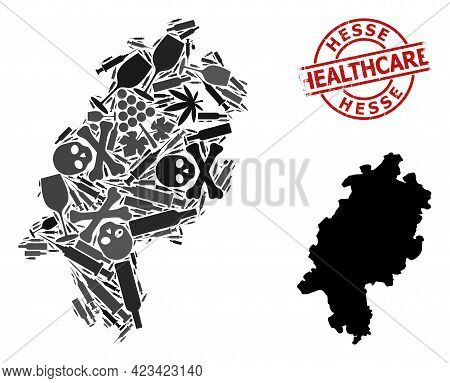 Vector Narcotic Mosaic Map Of Hesse State. Rubber Health Care Round Red Badge. Template For Narcotic
