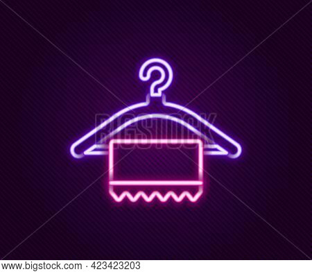 Glowing Neon Line Hanger Wardrobe Icon Isolated On Black Background. Clean Towel Sign. Cloakroom Ico