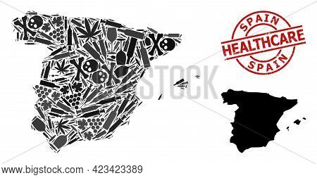 Vector Addiction Collage Map Of Spain. Grunge Healthcare Round Red Seal. Template For Narcotic Addic