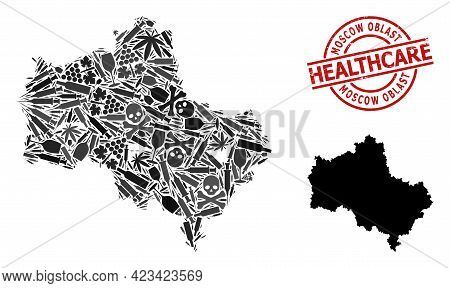 Vector Addiction Composition Map Of Moscow Region. Rubber Healthcare Round Red Seal. Concept For Nar