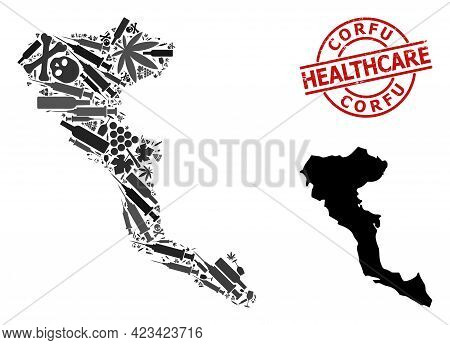Vector Narcotic Composition Map Of Corfu Island. Grunge Healthcare Round Red Imprint. Concept For Na