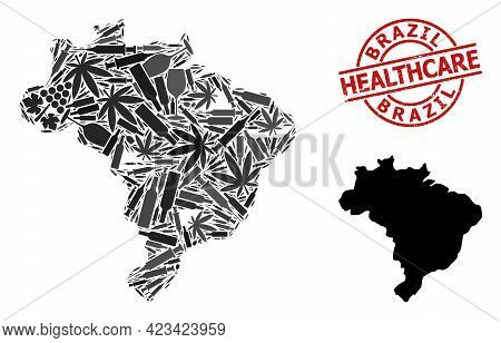Vector Addiction Mosaic Map Of Brazil. Rubber Healthcare Round Red Seal. Template For Narcotic Addic