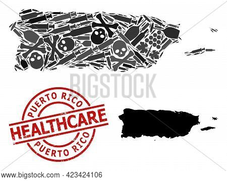 Vector Addiction Collage Map Of Puerto Rico. Scratched Health Care Round Red Badge. Concept For Narc