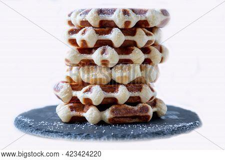Liege Style Plain Belgian Waffles On White Background. Waffles Stacked