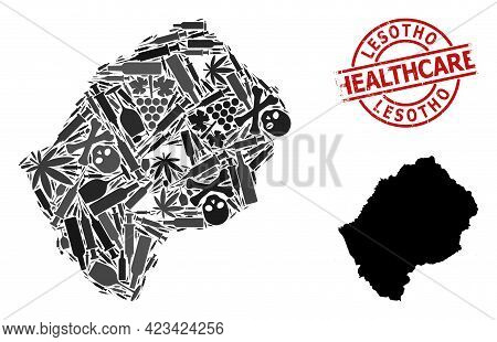 Vector Addiction Collage Map Of Lesotho. Grunge Health Care Round Red Seal. Template For Narcotic Ad