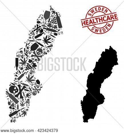 Vector Narcotic Composition Map Of Sweden. Rubber Health Care Round Red Seal Stamp. Template For Nar