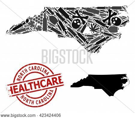 Vector Narcotic Collage Map Of North Carolina State. Scratched Health Care Round Red Badge. Template