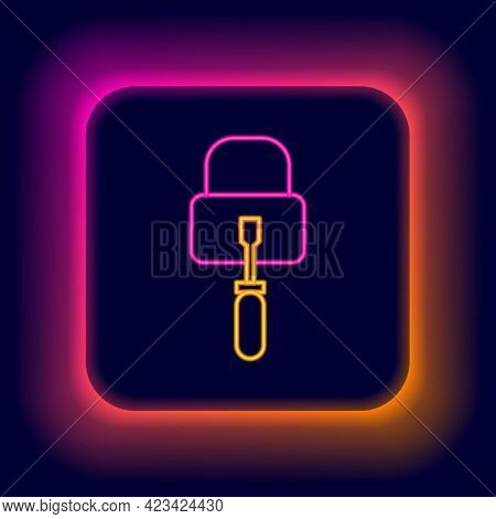Glowing Neon Line Lockpicks Or Lock Picks For Lock Picking Icon Isolated On Black Background. Colorf
