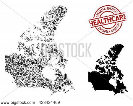 Vector Narcotic Collage Map Of Canada. Scratched Health Care Round Red Imprint. Concept For Narcotic