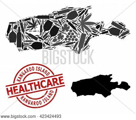 Vector Narcotic Collage Map Of Kangaroo Island. Grunge Health Care Round Red Stamp. Concept For Narc