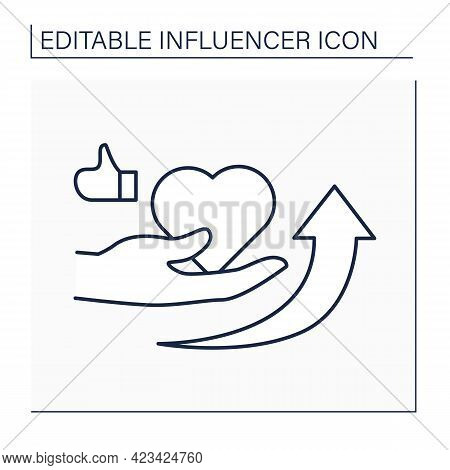 Influencer Outreach Line Icon. Develop Credibility And Raise Awareness For Brand Or Product.blogging