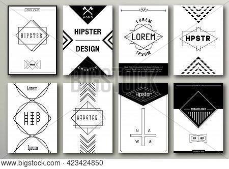 Set Of Brochures In Hipster Style Vintage
