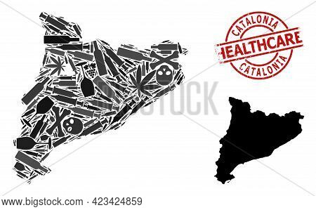 Vector Addiction Composition Map Of Catalonia. Rubber Healthcare Round Red Rubber Imitation. Concept