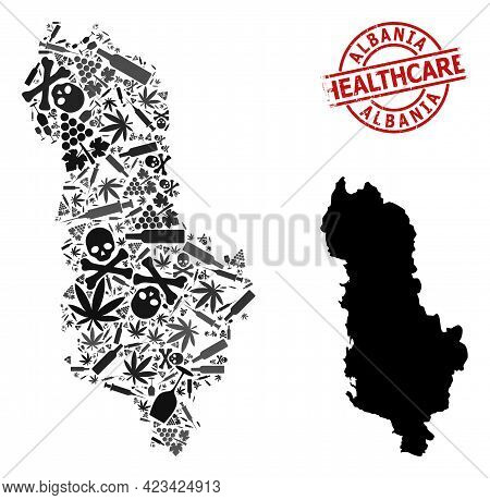 Vector Narcotic Mosaic Map Of Albania. Grunge Health Care Round Red Imprint. Template For Narcotic A
