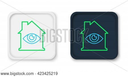 Line House With Eye Scan Icon Isolated On White Background. Scanning Eye. Security Check Symbol. Cyb