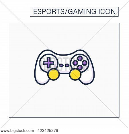 Joystick Color Icon. Input Device. Control Column. Playing Video Game Tools. Technical Equipment. Cy