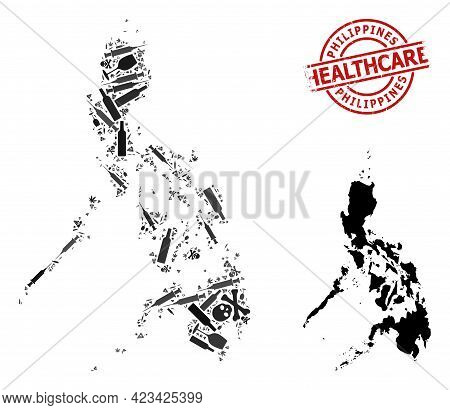 Vector Addiction Mosaic Map Of Philippines. Scratched Healthcare Round Red Rubber Imitation. Concept