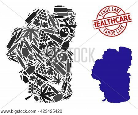 Vector Addiction Mosaic Map Of Tahoe Lake. Grunge Health Care Round Red Seal Stamp. Template For Nar