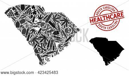 Vector Drugs Mosaic Map Of South Carolina State. Rubber Healthcare Round Red Rubber Imitation. Templ