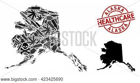 Vector Addiction Composition Map Of Alaska State. Scratched Health Care Round Red Badge. Template Fo
