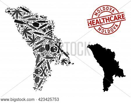 Vector Narcotic Composition Map Of Moldova. Rubber Health Care Round Red Seal. Concept For Narcotic