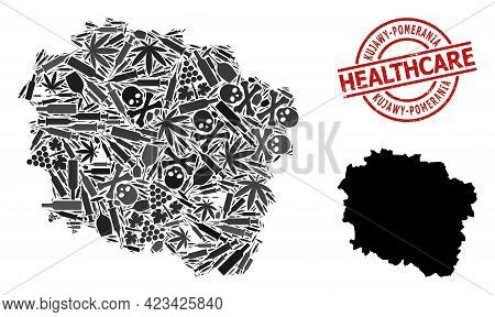 Vector Addiction Collage Map Of Kujawy-pomerania Province. Rubber Health Care Round Red Seal Stamp.