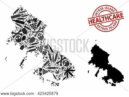 Vector Narcotic Collage Map Of Skyros Island. Rubber Healthcare Round Red Rubber Imitation. Concept