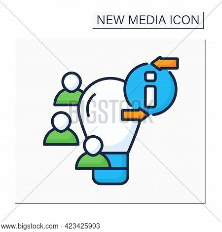 Crowdsourcing Color Icon. Sharing Ideas With Like-minded People. Discussion. Information, Opinions F