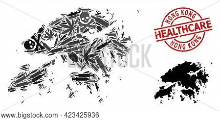 Vector Narcotic Collage Map Of Hong Kong. Grunge Healthcare Round Red Seal. Template For Narcotic Ad