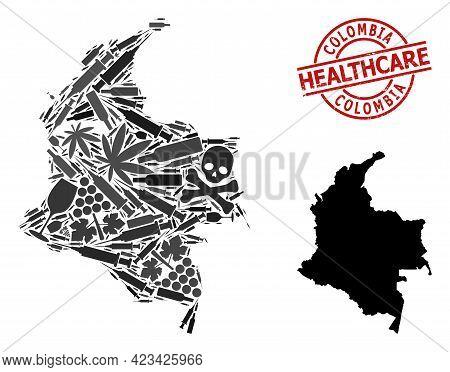 Vector Narcotic Mosaic Map Of Colombia. Grunge Health Care Round Red Badge. Concept For Narcotic Add