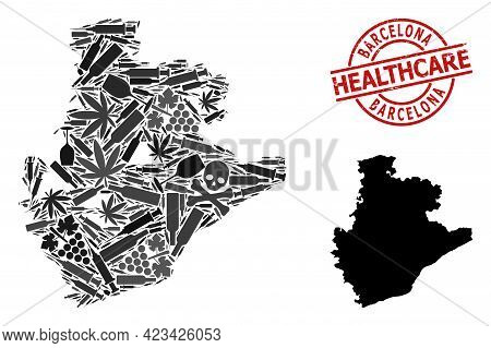 Vector Narcotic Collage Map Of Barcelona Province. Scratched Health Care Round Red Seal. Template Fo