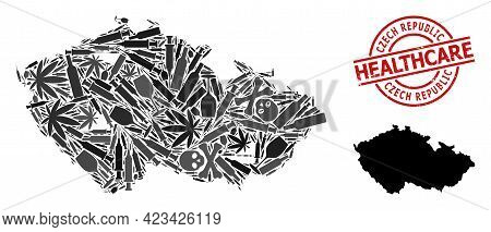Vector Addiction Mosaic Map Of Czech Republic. Rubber Healthcare Round Red Rubber Imitation. Concept