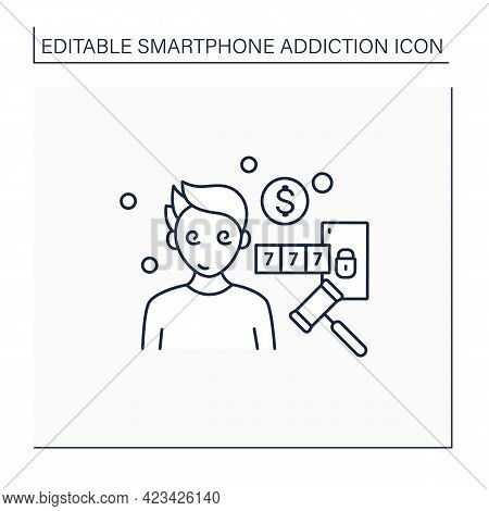 Online Compulsions Line Icon. Gampling Games Addiction. Betting, Casino. Three In A Row. Smartphone