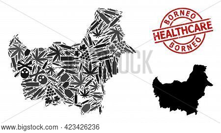 Vector Narcotic Composition Map Of Borneo Island. Grunge Health Care Round Red Badge. Template For N