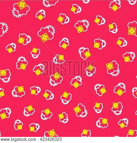 Line Cloud With Snow And Sun Icon Isolated Seamless Pattern On Red Background. Cloud With Snowflakes