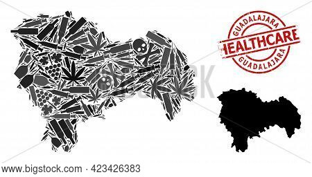 Vector Narcotic Composition Map Of Guadalajara Province. Grunge Health Care Round Red Imprint. Conce