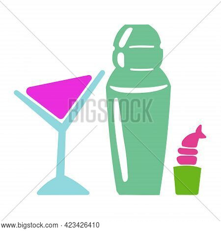 Martini Cocktail, Shaker And Shrimp Roll Illustration Isolated On White Background. Vector Flat Illu