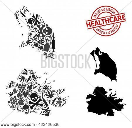 Vector Narcotic Composition Map Of Antigua And Barbuda. Grunge Health Care Round Red Seal Stamp. Tem