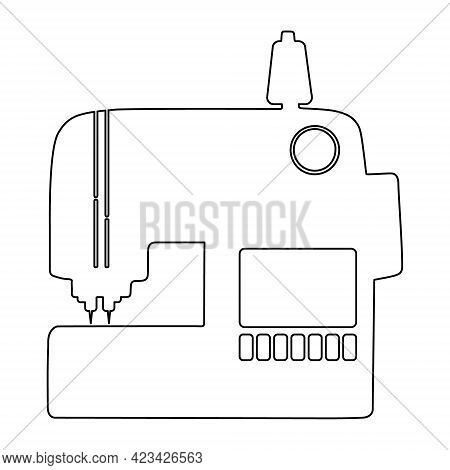 Modern Electronic Sewing Machine Outline Icon Or Logo Isolated On White Background. Vector Illustrat