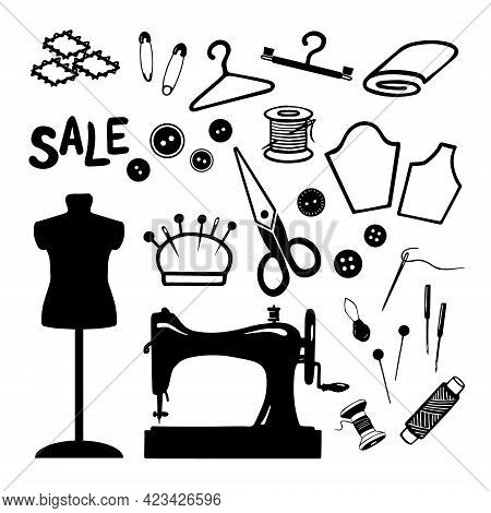 Set Of Sewing Tools And Materials. Different Sewing Needlework Elements Isolated On Wite Background