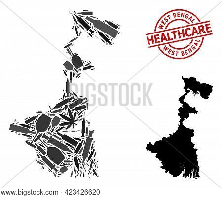 Vector Narcotic Mosaic Map Of West Bengal State. Grunge Health Care Round Red Stamp. Concept For Nar