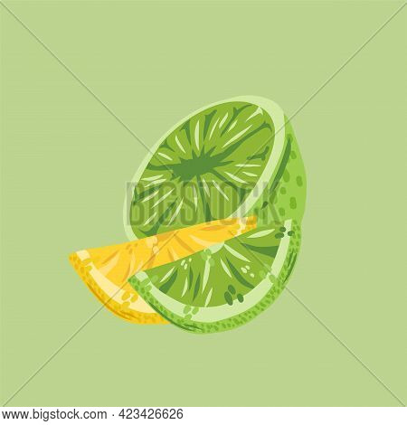 Illustrations Of Citruses Of Lime And Lemon. Vector Juicy Fruit Collection For Summer Design. Vector