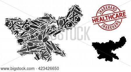 Vector Addiction Collage Map Of Jharkhand State. Scratched Healthcare Round Red Rubber Imitation. Te