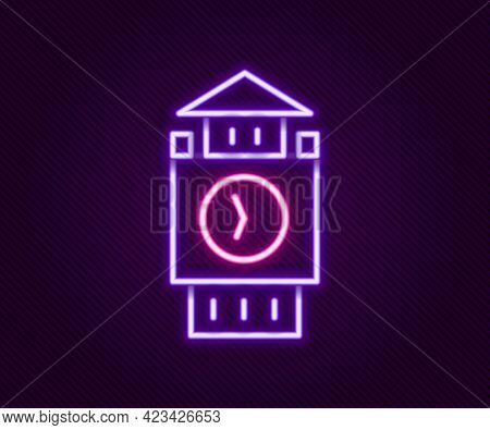 Glowing Neon Line Big Ben Tower Icon Isolated On Black Background. Symbol Of London And United Kingd
